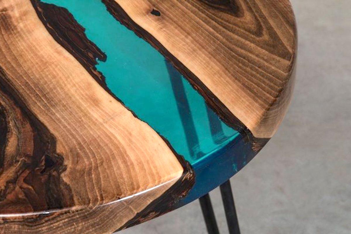 Meuble Avec Resine Epoxy transparent turquoise - r�sine �poxy