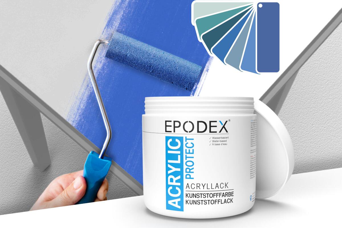 acryllack kunststofffarbe blau