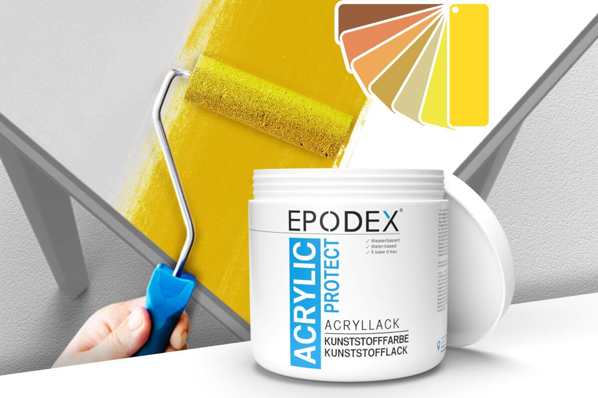 acryllack kunststofffarbe gelb