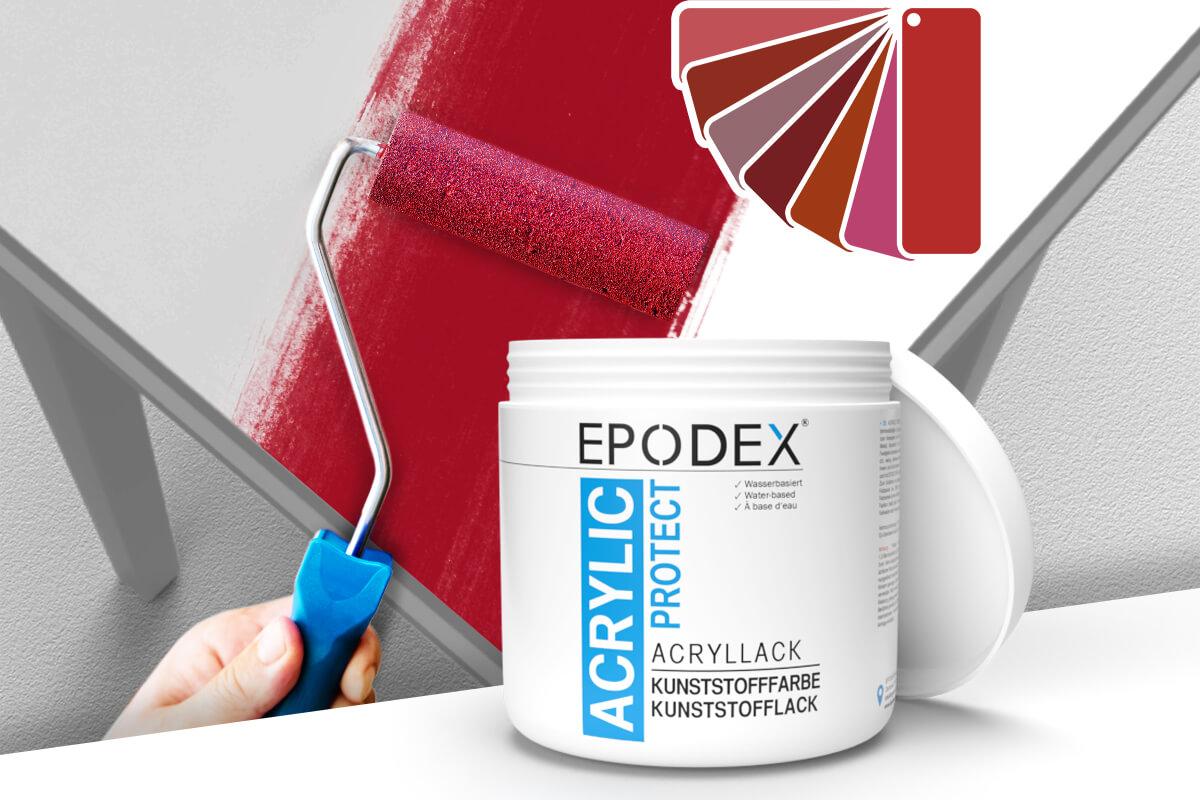acryllack kunststofffarbe rot