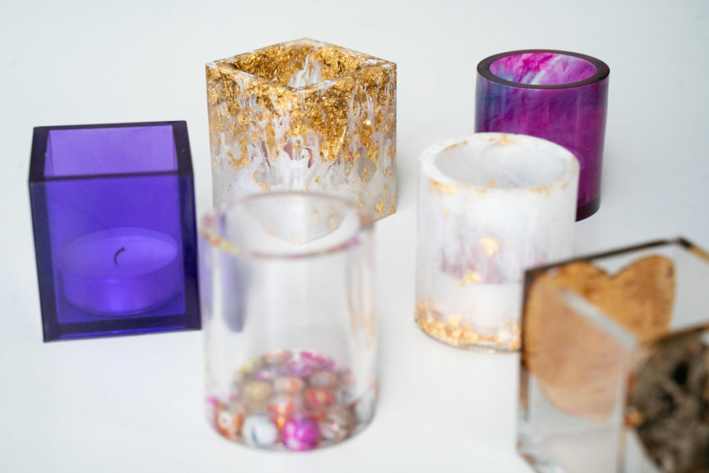 candle holders resin clear