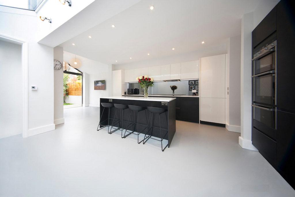 seamless floor made of epoxy resin white