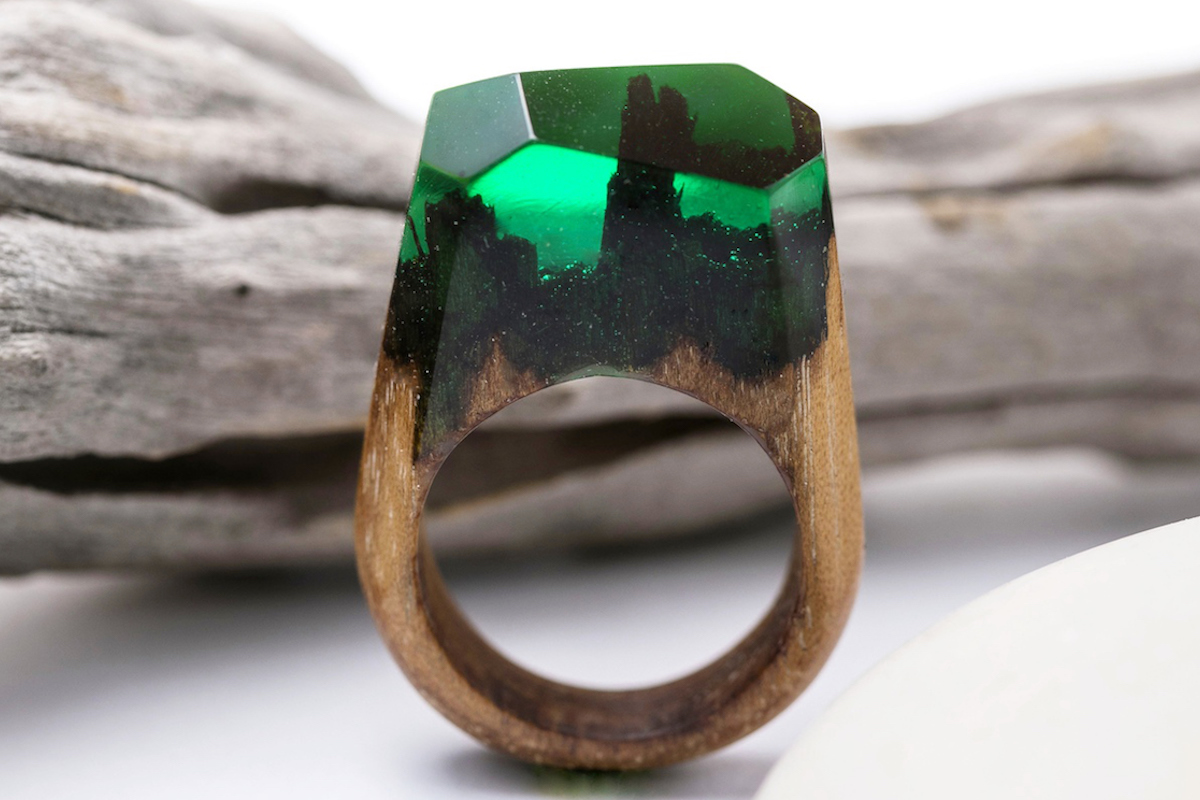 epoxy resin art wood jewelry