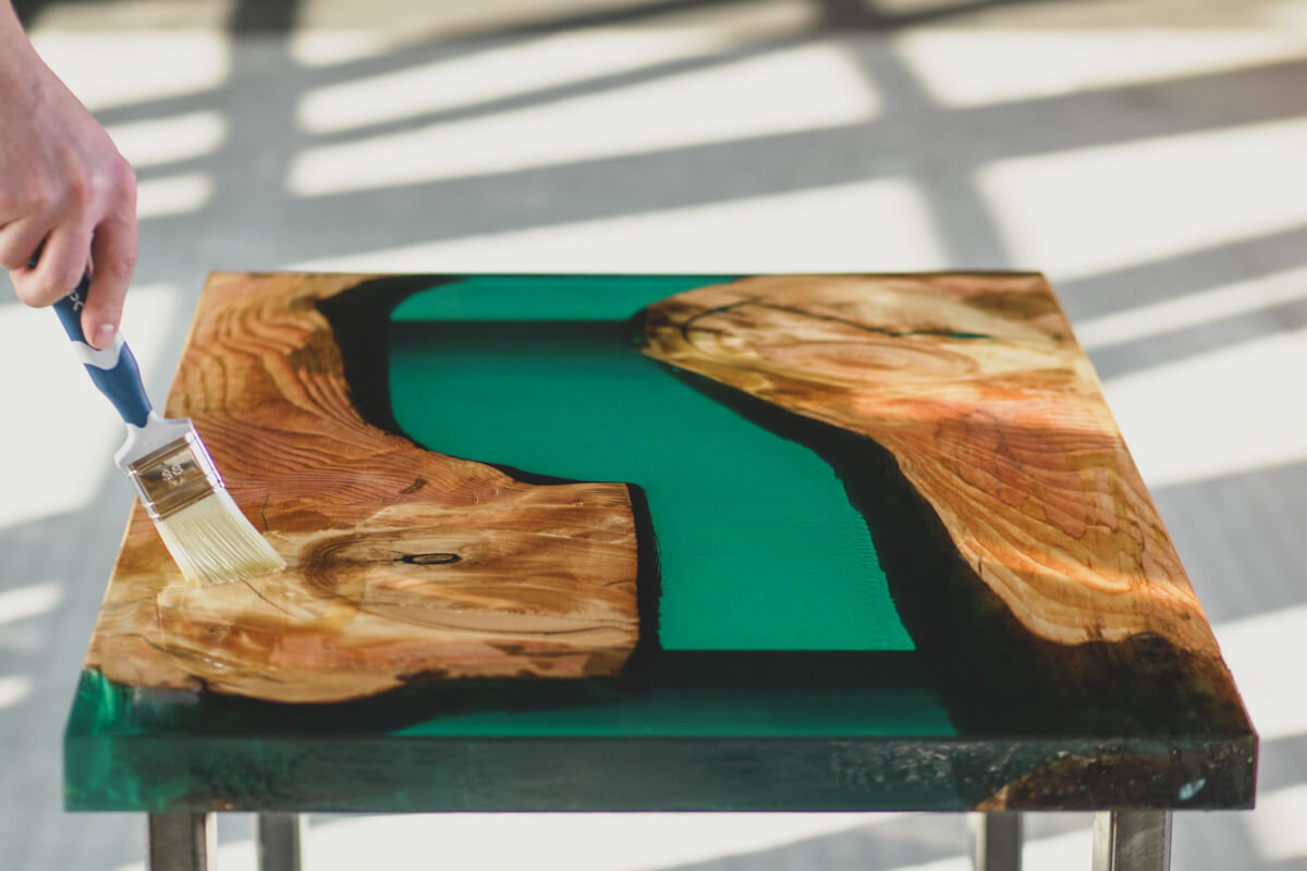 epoxy resin furniture river table transparent