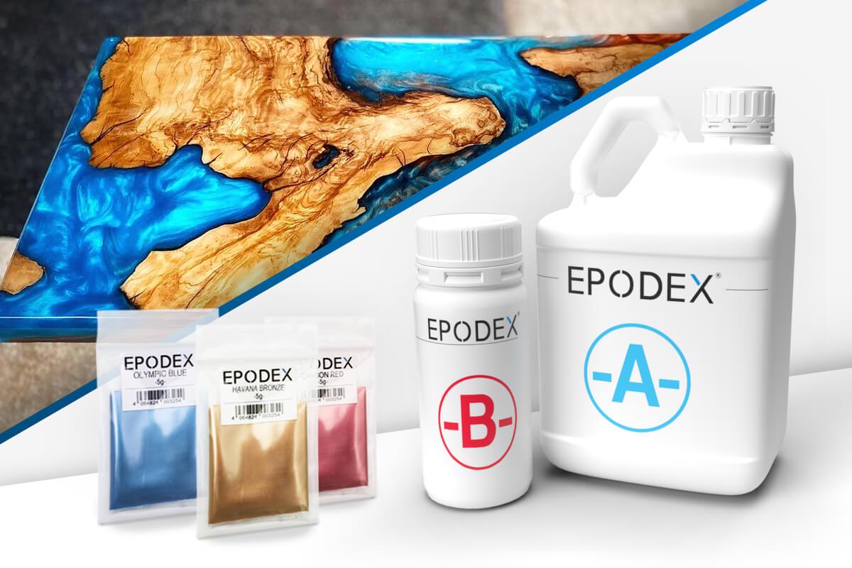 epoxy resin table metallic colours